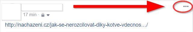 Ukázka aktualizace náhledu článku již zveřejněného na Facebooku přes tři tečky