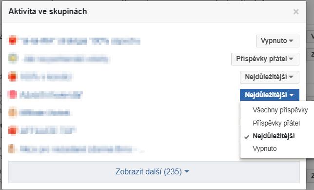 Nastavení upozornění na aktivity ve skupinách na Facebooku