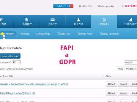 Náhledový obrázek nastavení GDPR účelů ve FAPI